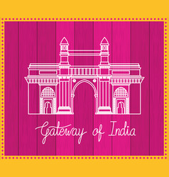 Indian gate temple with purple background vector