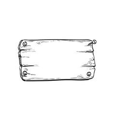 ink sketch of wooden signboard vector image