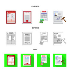 isolated object of form and document sign set of vector image