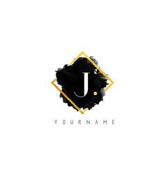 j letter logo design with black stroke and golden vector image