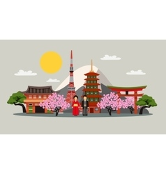 Japan Symbols Composition Flat Poster vector image