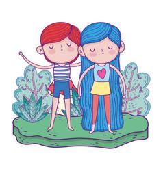 little kids in the garden characters vector image