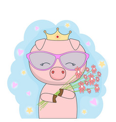 Little pig princess with gold crown vector