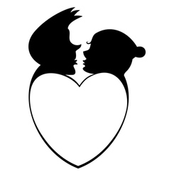 Loving couple and heart silhouette vector image