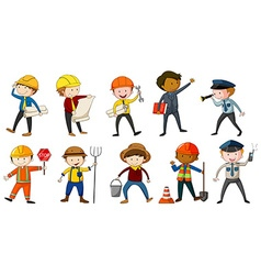 Man in different costume of occupations vector