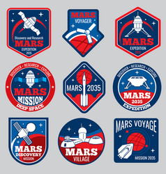 Mars colonization retro space logos and vector