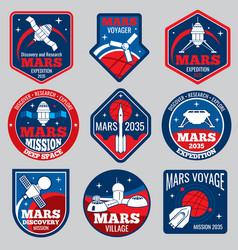 mars colonization retro space logos and vector image