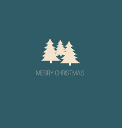 merry christmas card with christmas trees vector image