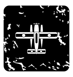 Military biplane icon grunge style vector image