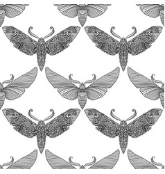 Night moth in mandala style black and white vector