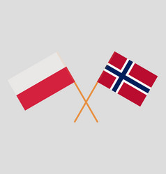 Norway and poland flags vector
