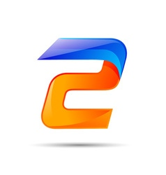 Number two 2 logo orange and blue color with fast vector image