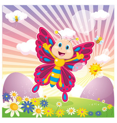 Of cartoon butterfly vector