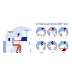 Office syndrome work pain infographic symptoms vector