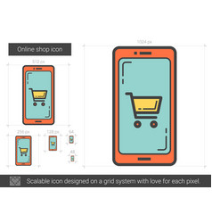 online shop line icon vector image