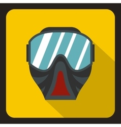 Paintball mask icon flat style vector image