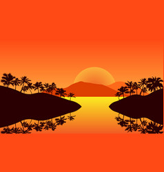 Panorama landscape yellow color silhouette palm vector
