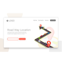 paved path on the road road isometric location vector image