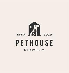 Pet house dog cat hipster vintage logo icon vector