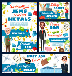 pilot cashier jeweler and manager professions vector image