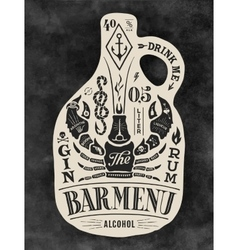 Poster bottle of alcohol with hand drawn lettering vector image