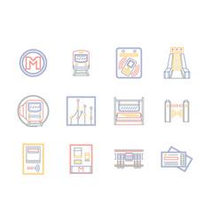 public transportation flat color line icons vector image vector image
