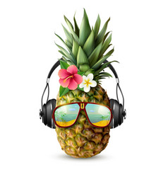 Realistic pineapple concept vector