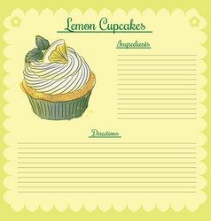 recipe lemon cupcake vector image
