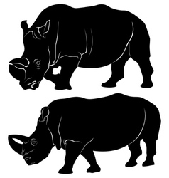 Rhino silhouette set of three vector image