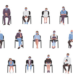 seamless pattern social distancing adults vector image