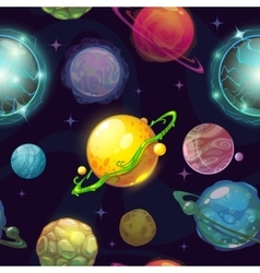 Seamless space pattern with cartoon planets vector
