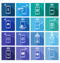 set mobile payment flat design icon vector image