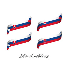 Set of four modern colored slovak ribbons vector