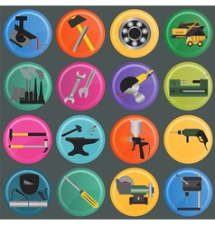 Set of metal working tools icons vector