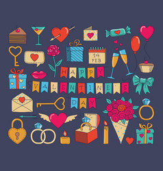 set of valentines day doodle icon set vector image