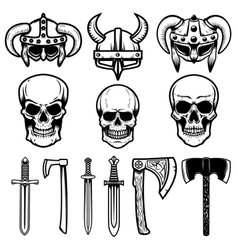 set of viking helmets weapon skulls design vector image