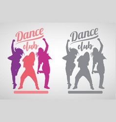 silhouettes girls dancing modern dance styles vector image