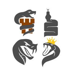 Snake castle crown logo template design set vector