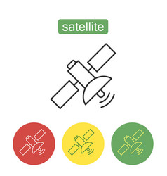 space satellite outline icons set vector image