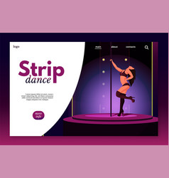 Strip dance landing page template vector