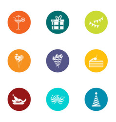 Successful holiday icons set flat style vector