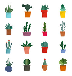Succulent and cactus flowers icons set flat style vector