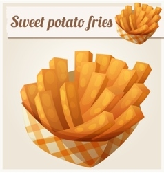 Sweet potato fries in paper box Detailed vector
