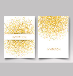 Template design of invitation gold glitter vector