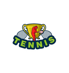 tennis label with trophy and tennis player logo vector image