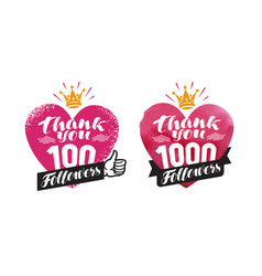 thank you followers banner network subscribe vector image