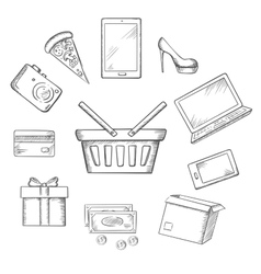 Trading sketch icons for online shopping vector image