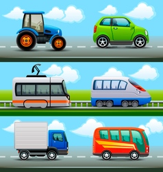 Transport icons on the road vector