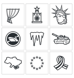 Usa russia conflict icons vector