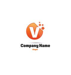 v-design orange logo vector image